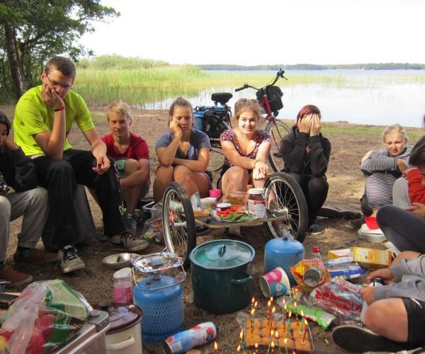 Schwedenfahrradfahrt - Geburtstagsfrühstück am ersten Tag