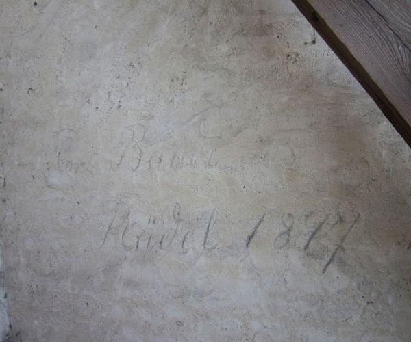 Trebitzer Kirche - alte Inschrift von 1897
