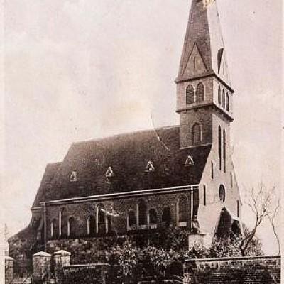 Alte Fotografie: Die Evangelische Kirche in Trebitz wie sie früher aussah.