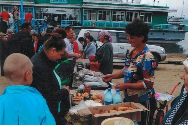 Schiffsanleger am Jenissei - Russlandvortrag beim Gemeindenachmittag