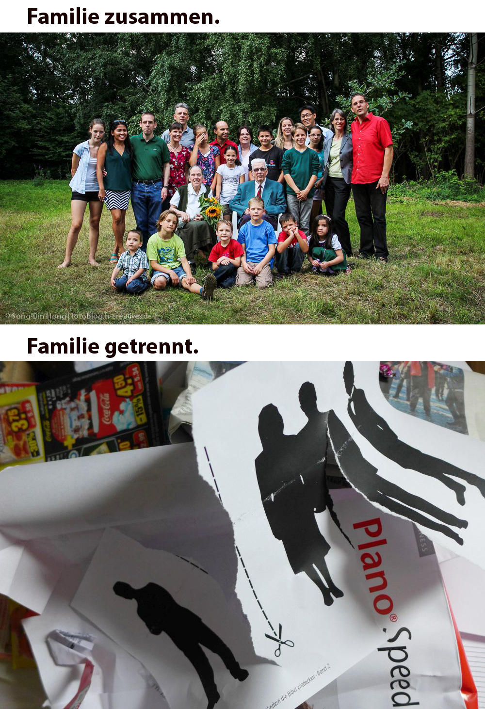 Familie zusammen - Familie getrennt