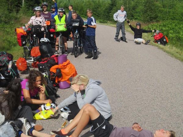 Schwedenfahrradfahrt 2015 - Pause auf dem Weg