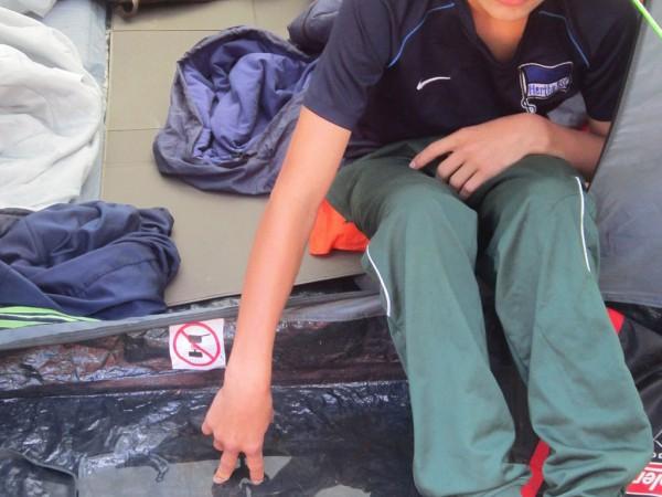 Schwedenfahrradfahrt 2015 - Wasser im Zelt