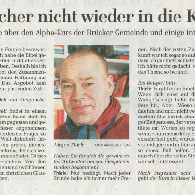Interview zum Alphakurs, Märkische Allgemeine vom 15. März 2016