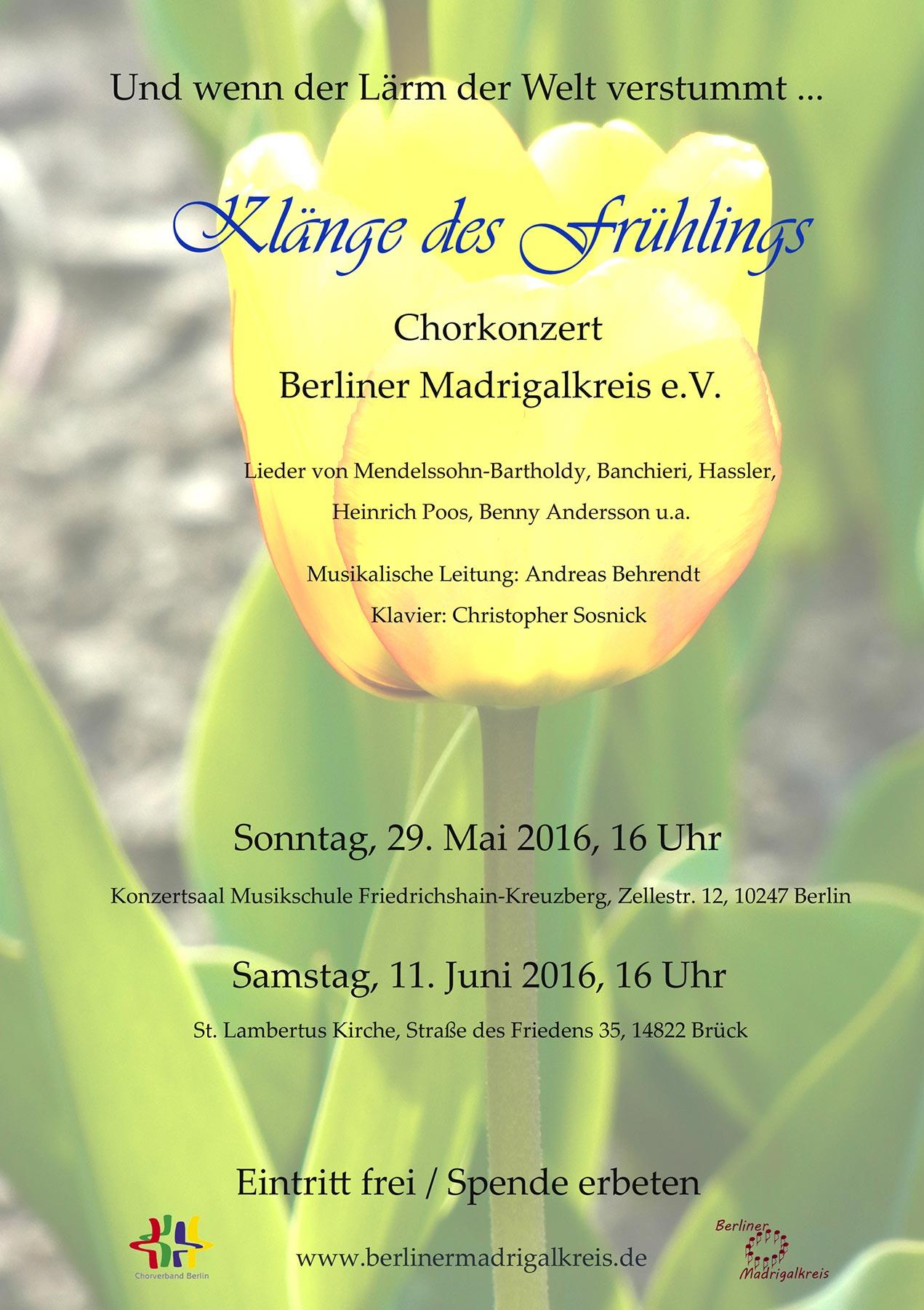 Und wenn der Lärm der Welt verstummt ... Konzert des Berliner Madrigalkreises