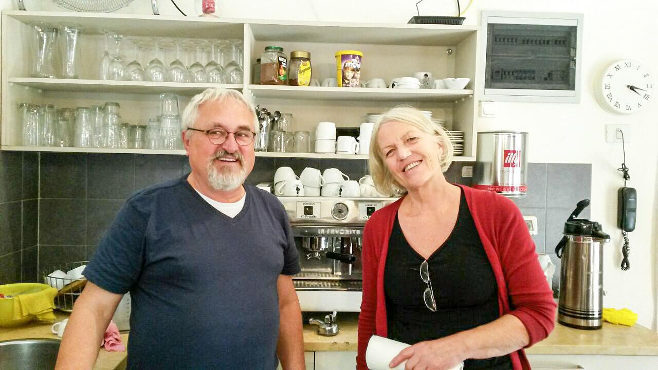 Ehepaar Meissner im Café auf dem Ölberg Jerusalem