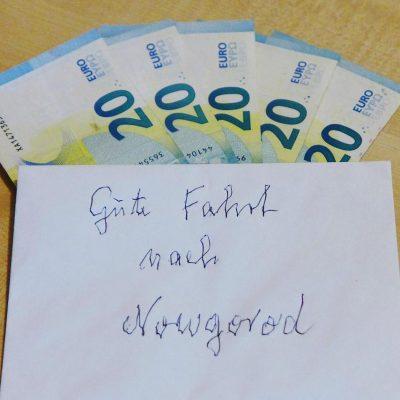 Anonyme Spende für die Titanen on tour nach Nowgorod