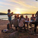 Schweden-Fahrradfahrt 2018 - essen am See in Schweden