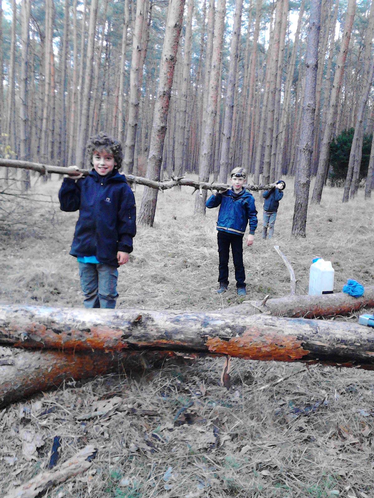 Kinder tragen Holz - Baooms, die Pfadfinder von Brück