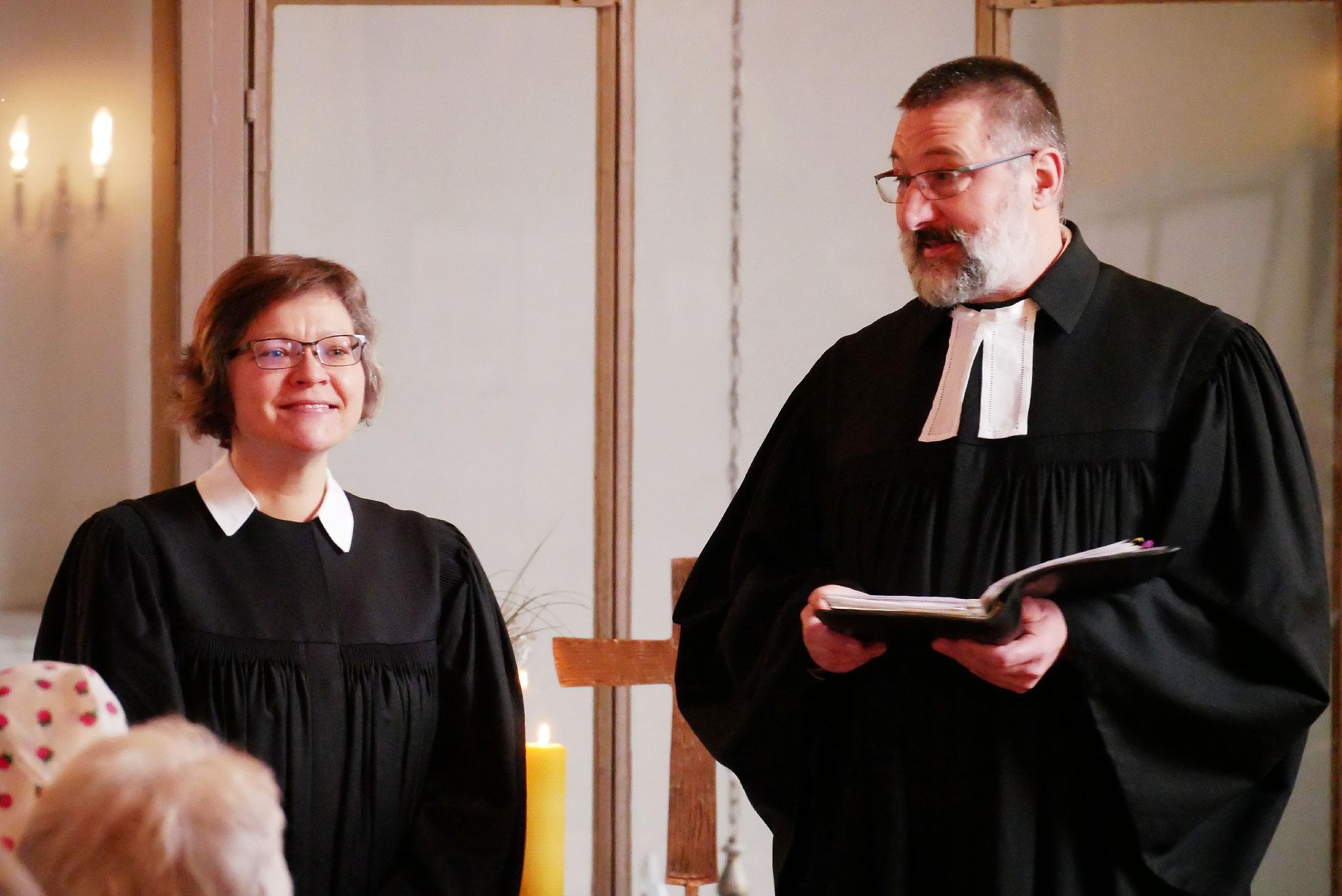 Pfarrerin Christiane Moldenhauer und Superintendent Wisch