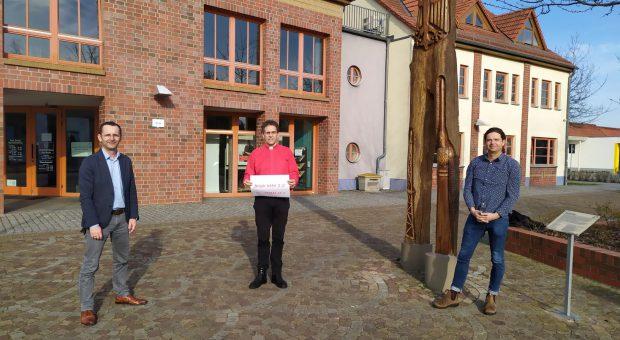 Amtsdirektor Marko Köhler, Bürgermeister Matthias Schimanowski und Pfarrer Helmut Kautz